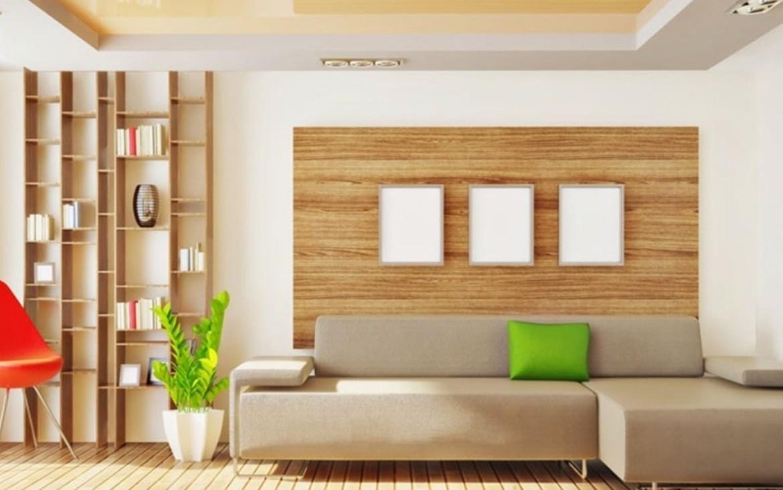 salon z drewnianymi meblami