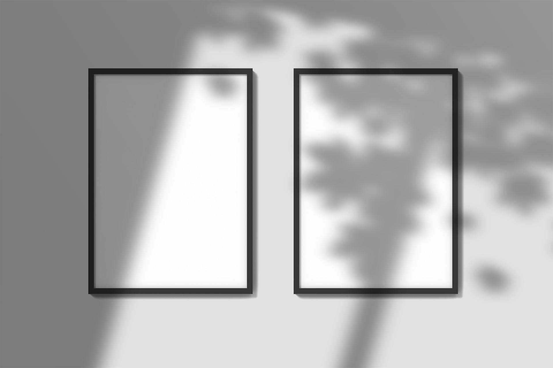układ dwóch ramek na ścianie