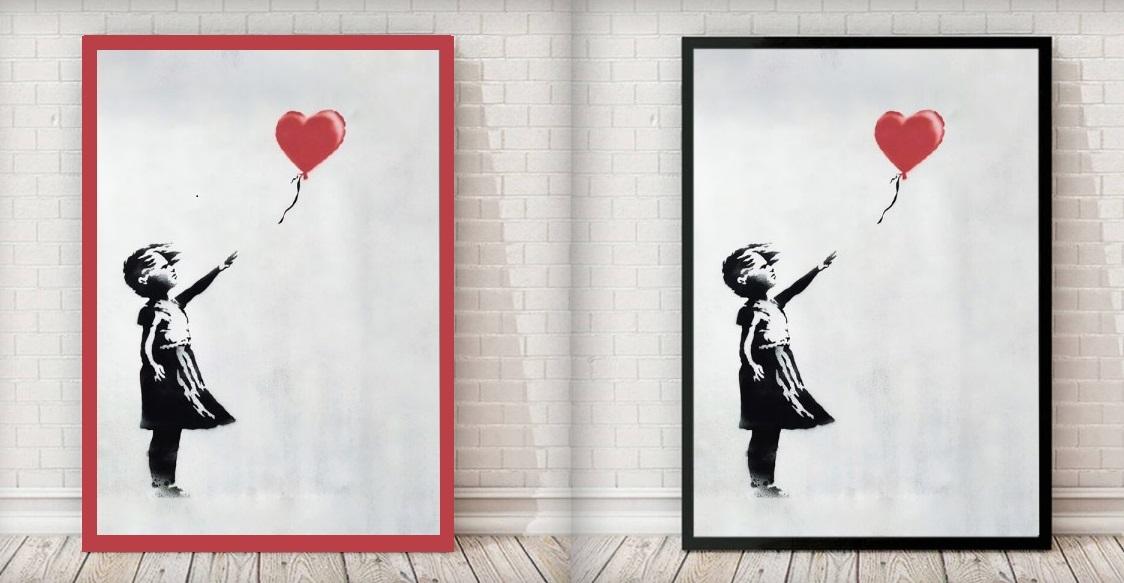 dziewczynka z balonkiem czerwona czy czarna rama
