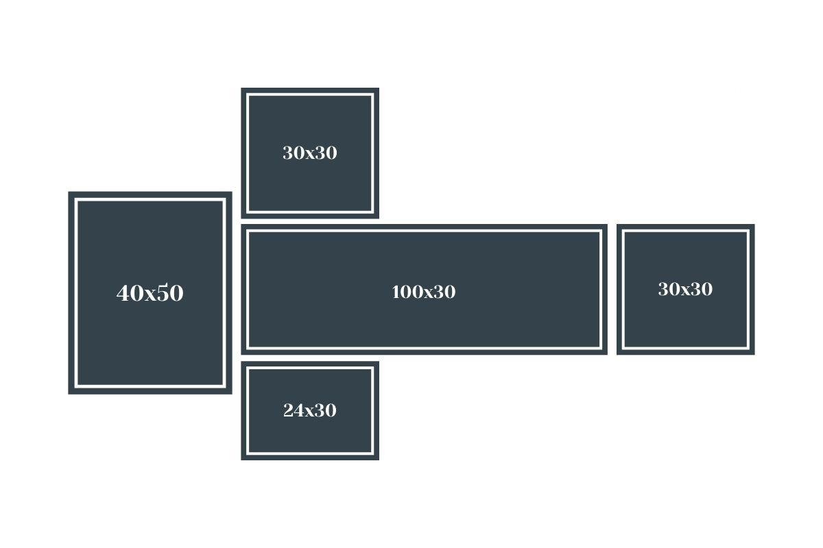 asymetryczny układ galerii ściennej z ramek