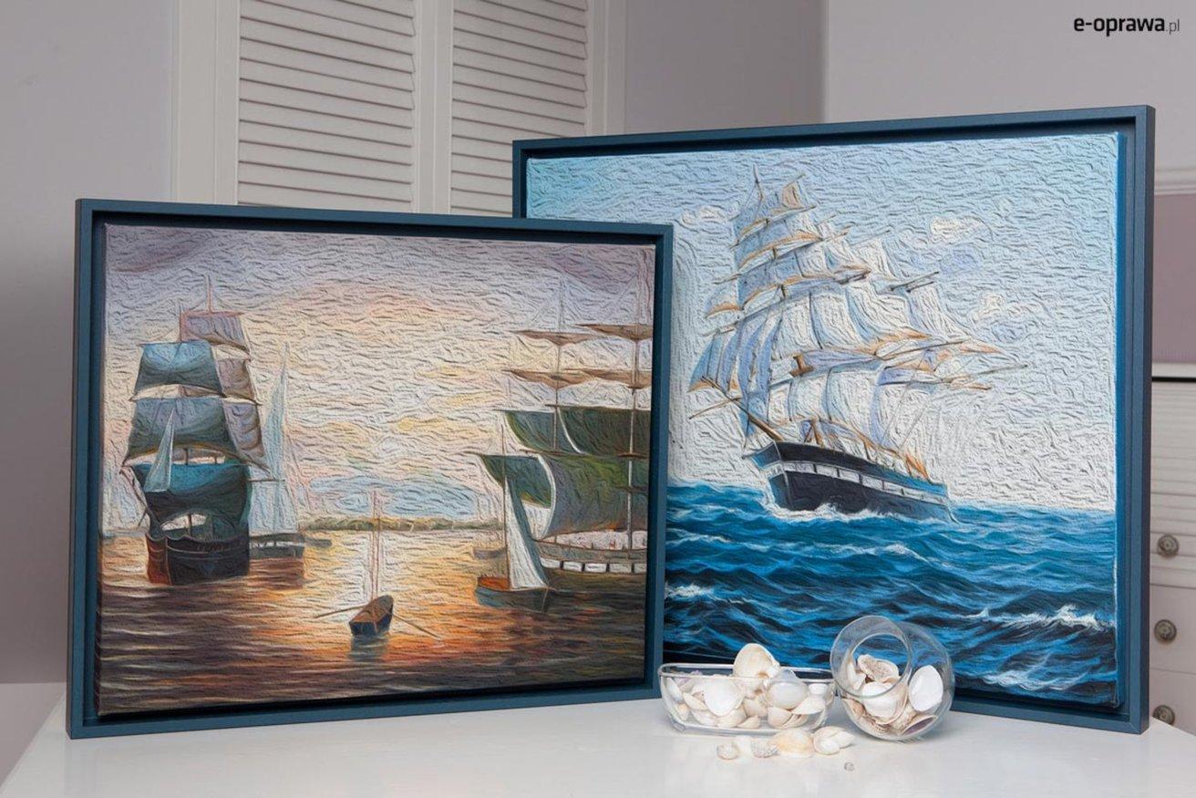 niebieska ramka do marynarskiego pokoju