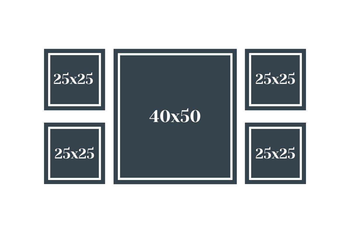 ramki na zdjęcia w symetrycznym ułożeniu