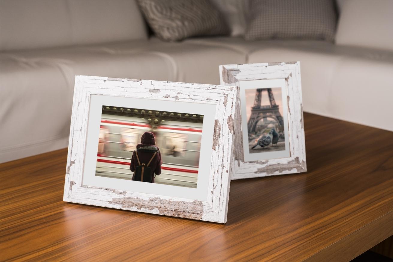 Ramka na zdjęcia i obrazy biała w brązowe plamki Yellowstone AE
