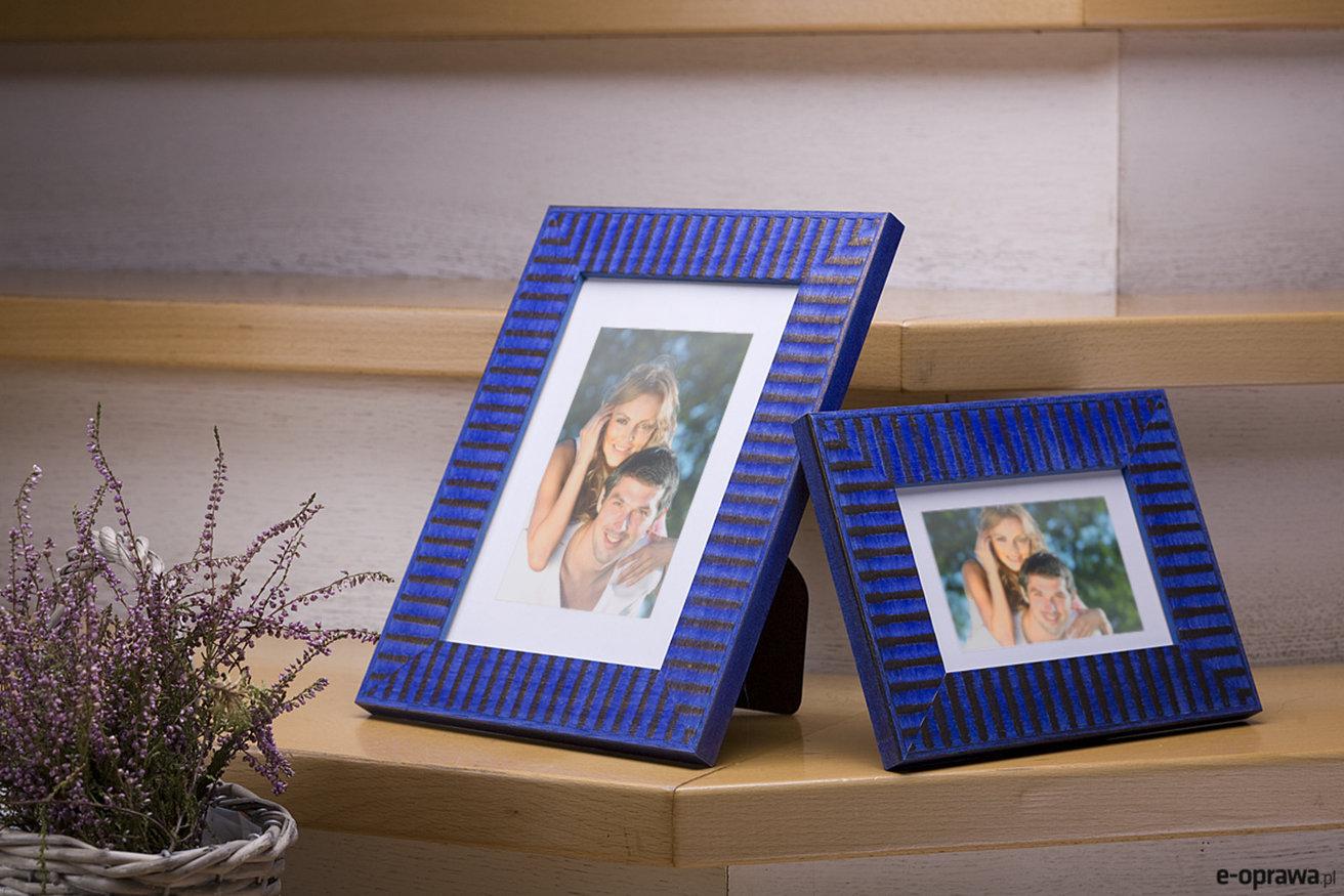 Rama do obrazów i zdjęć niebieska w brązowe paski Samba HD