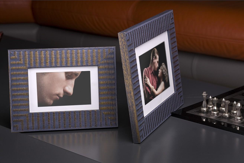 Rama do obrazów i zdjęć niebiesko-złota wyprążkowana Samba HF