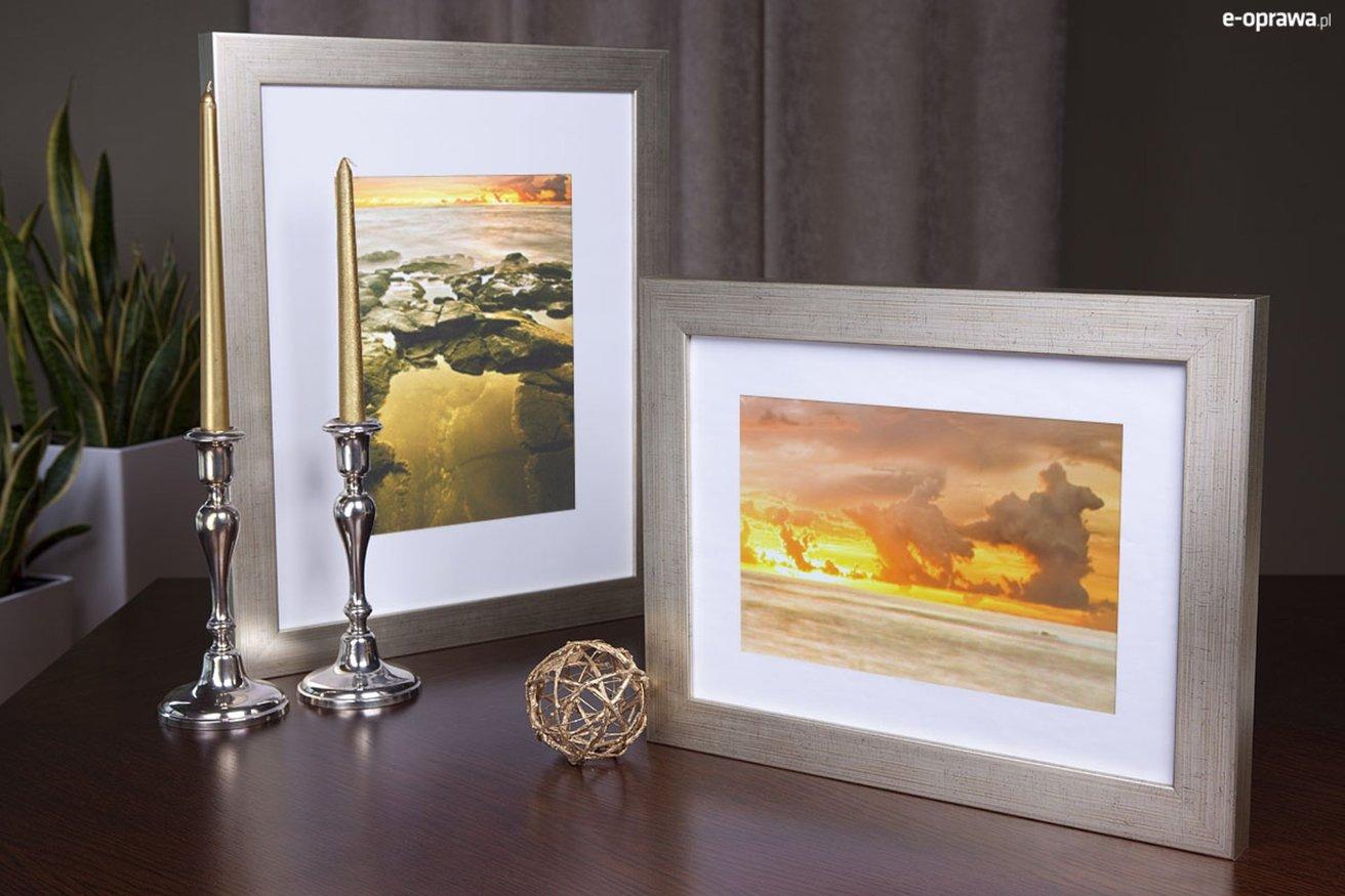 Rama do obrazów i zdjęć srebrna pręgowana Nevada AA