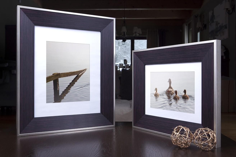 Rama do obrazów i zdjęć śliwkowa ze srebrną krawędzią Montana AA