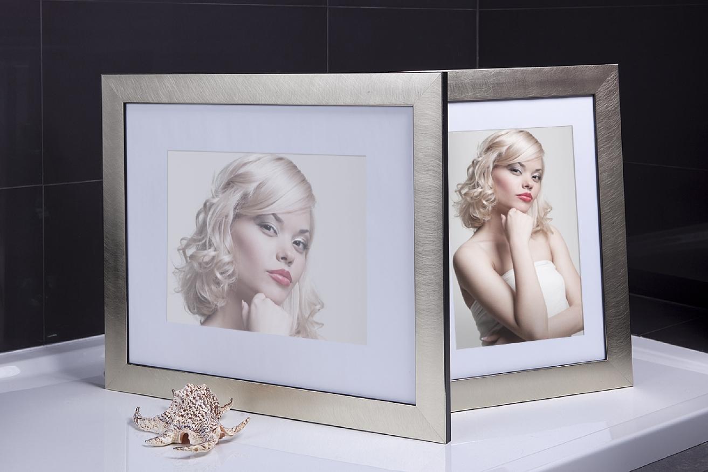 Rama do obrazów i zdjęć srebrno-złota poszczotkowana Santos AB