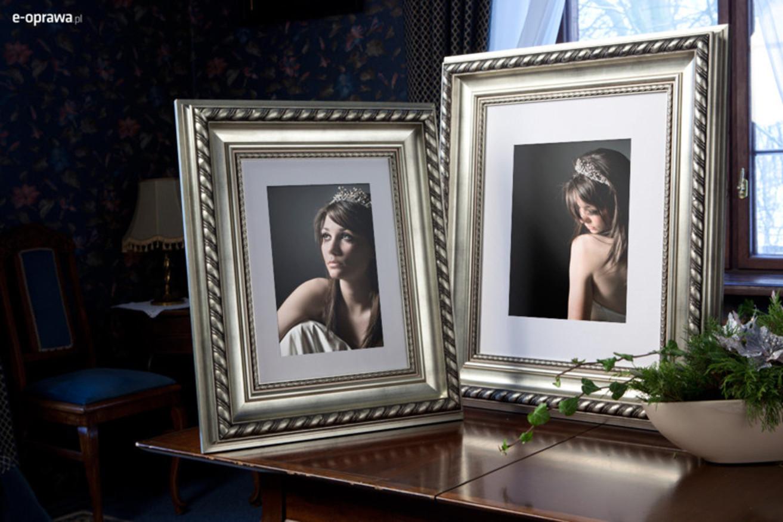 Rama do obrazów i zdjęć srebrna z grubym warkoczem Wiktoria AB