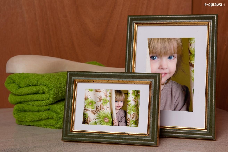 Rama do obrazów i zdjęć zgniłozielona ze złotym paskiem Roxana AB