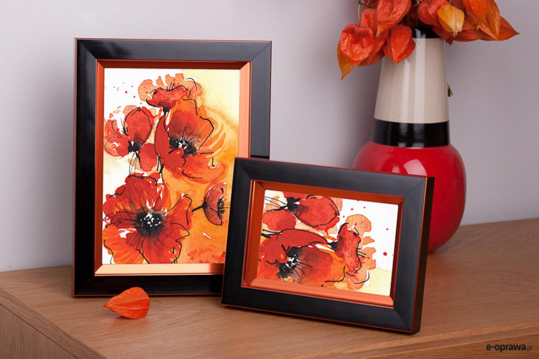 Rama do obrazów i zdjęć czarna z pomarańczowym zagłębieniem Regina AE
