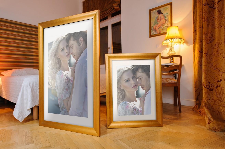 Rama do obrazów i zdjęć ochrowa w prążki Luna AB