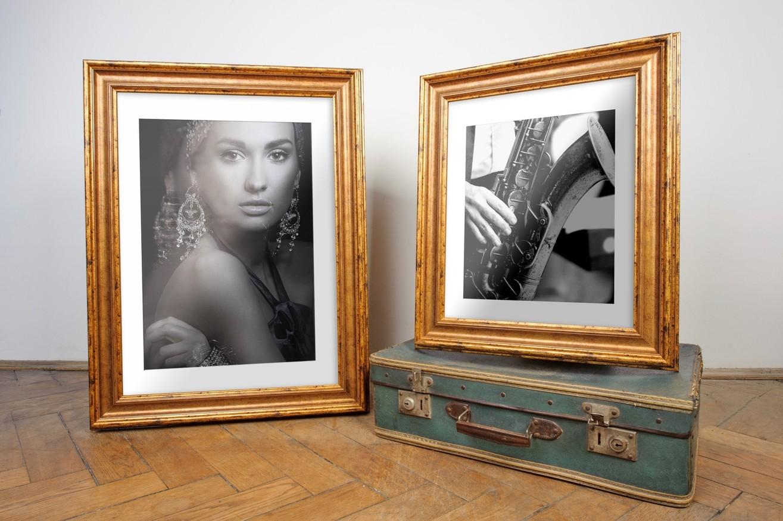 Rama do obrazów i zdjęć złota przybrudzona Eos AC