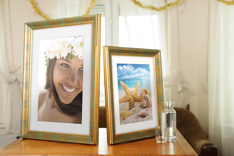 Rama do obrazów i zdjęć złota przetarta szmaragdem Denver AF