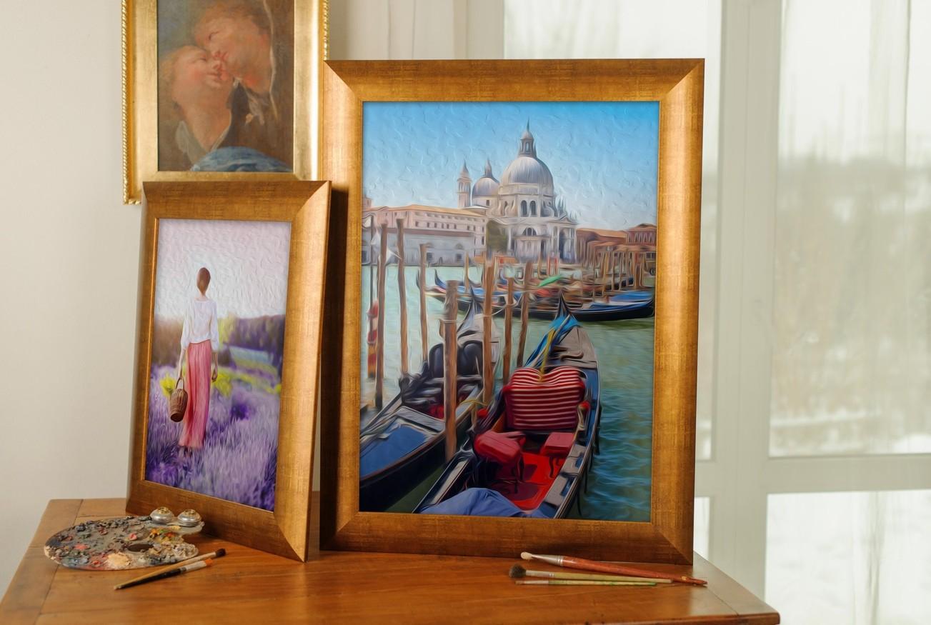 Rama do obrazów i zdjęć postarzana złota obła Genua AC
