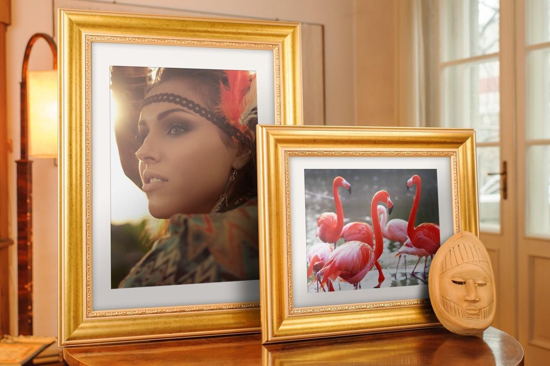 Rama do obrazów i zdjęć jaskrawozłota ze wzorkiem  Lotus AA