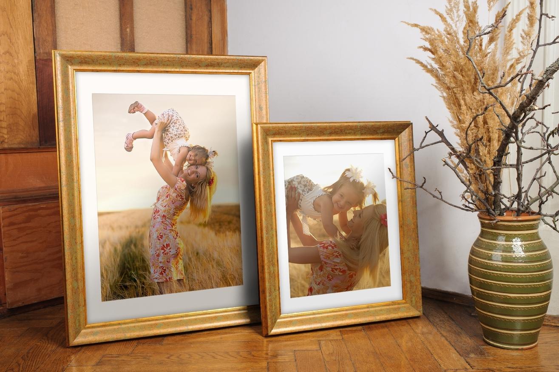 Rama do obrazów i zdjęć złota przetarta zielonym Denver AB