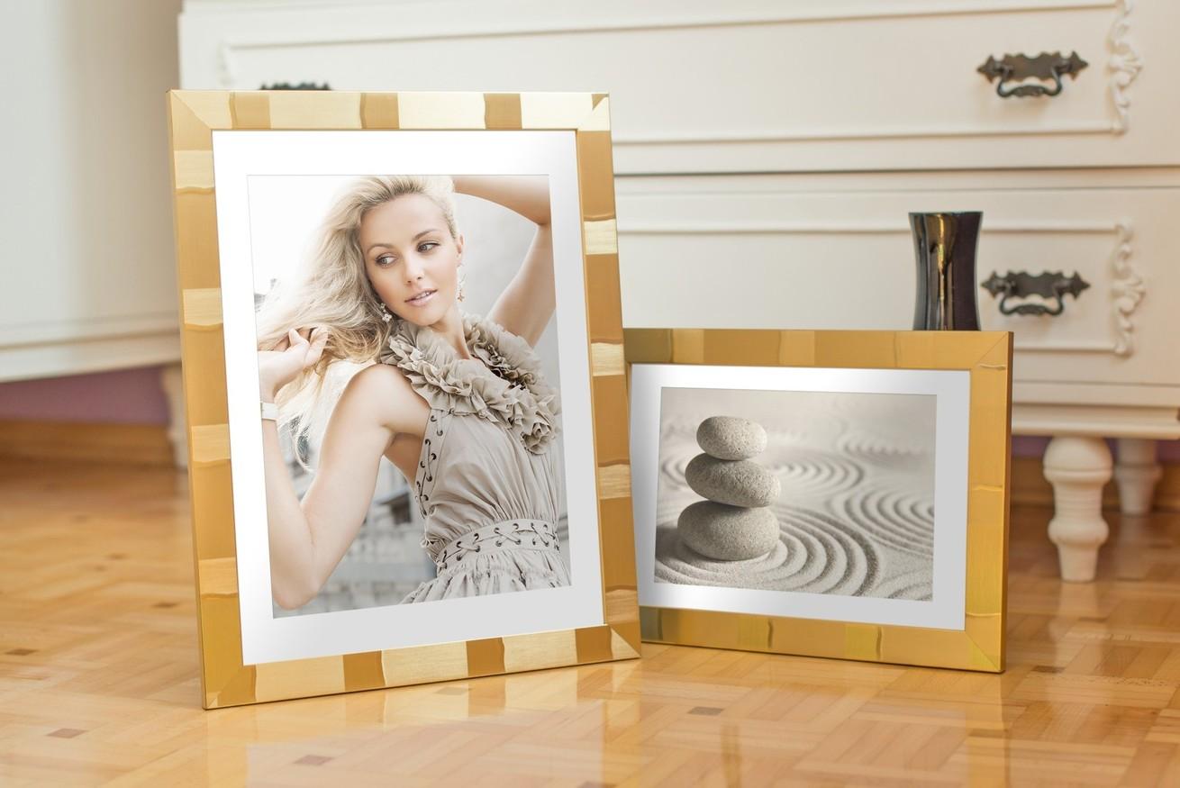 Rama do obrazów i zdjęć złocista w złote kwadraty Santiago AB