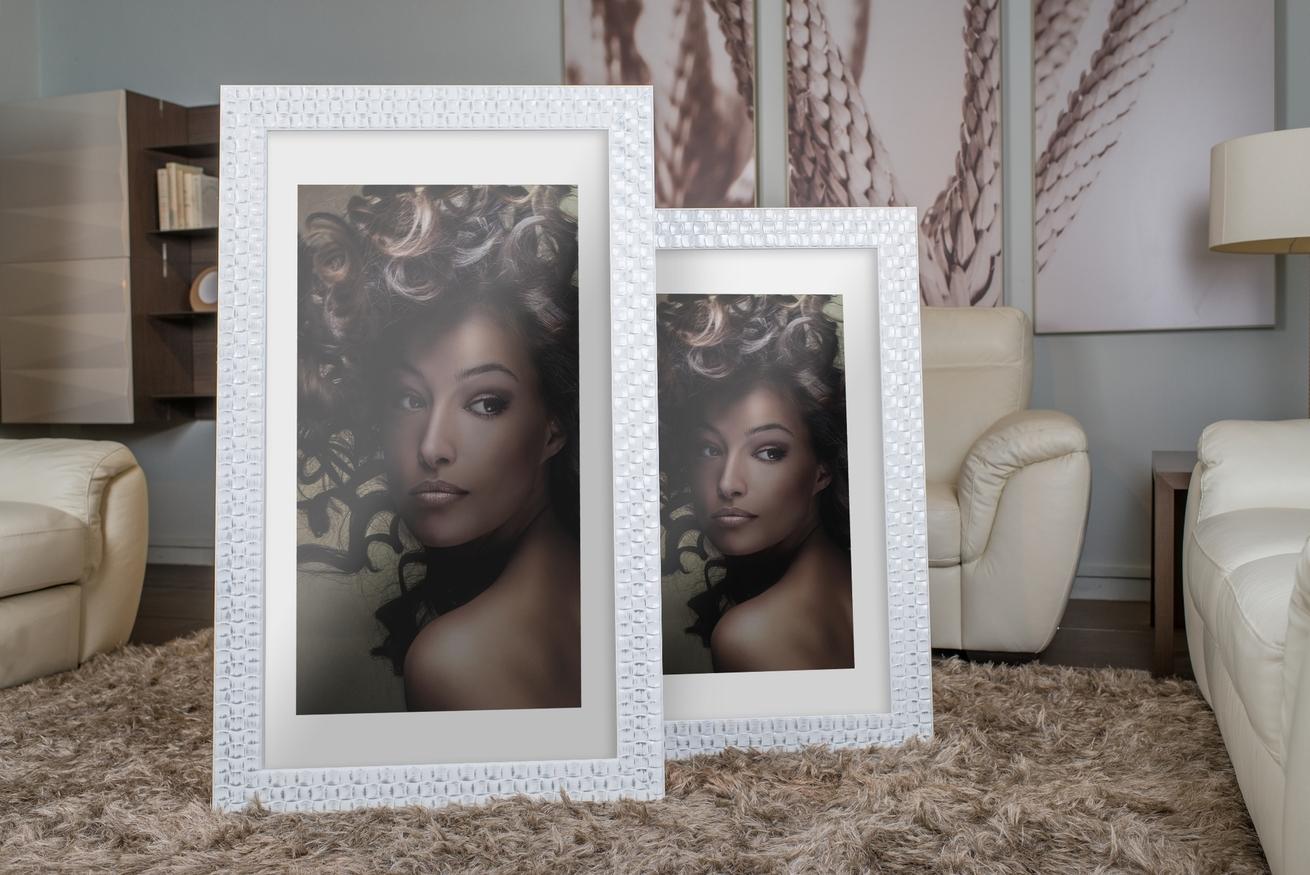 Rama do obrazów i zdjęć biała w przetarte kwadraciki Virginia AA