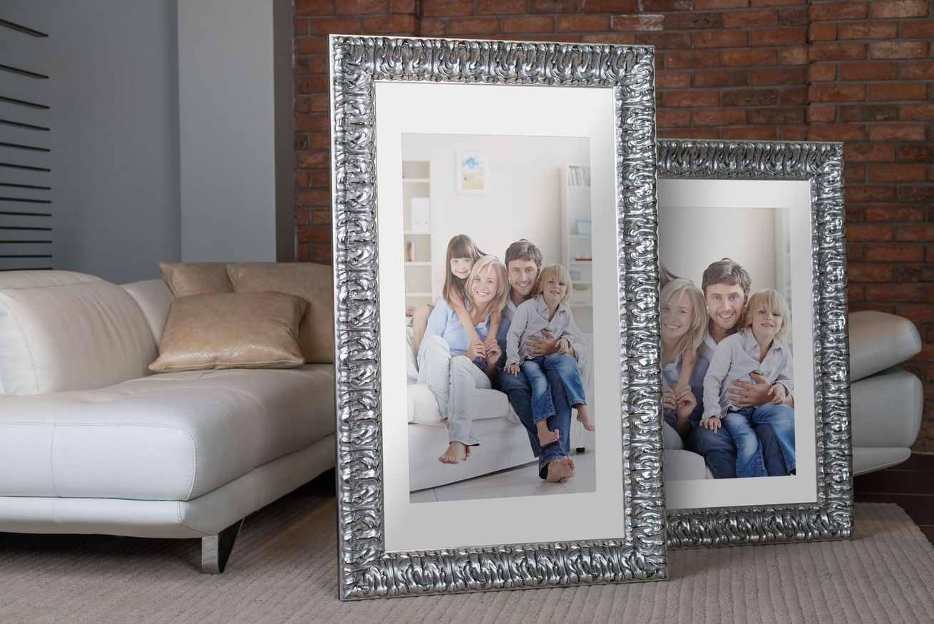 Rama do obrazów i zdjęć srebrna ornamentowa przetarta Annabel AA
