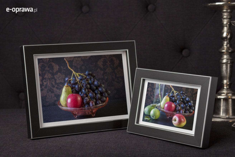 Rama do obrazów i zdjęć czarna ze srebrną obramówką Sanga AD