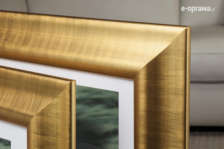 Rama do obrazów i zdjęć złota z prześwitami prążków Milano AB