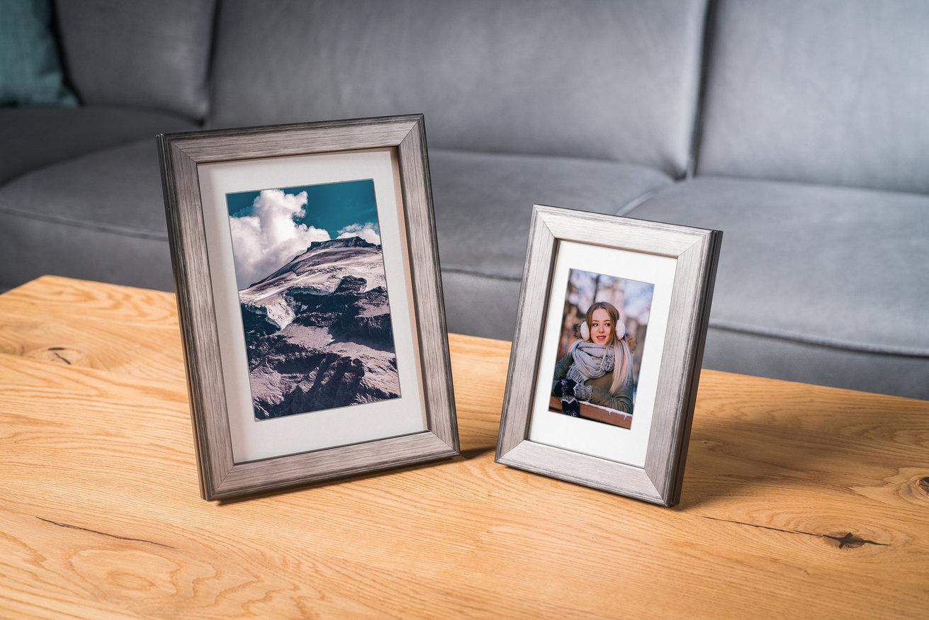 Rama do obrazów i zdjęć srebrna w czarne linie Krym AA