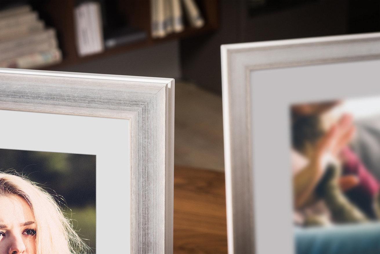 Rama do obrazów i zdjęć srebrnobiała z przecierkami Marbella AC