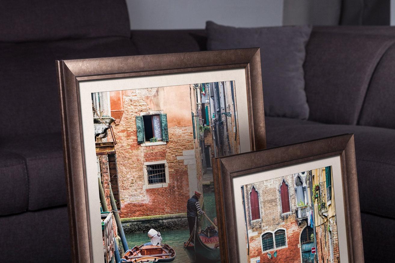 Rama do obrazów i zdjęć brązowo-miedziana przetarta złotem Berta AC