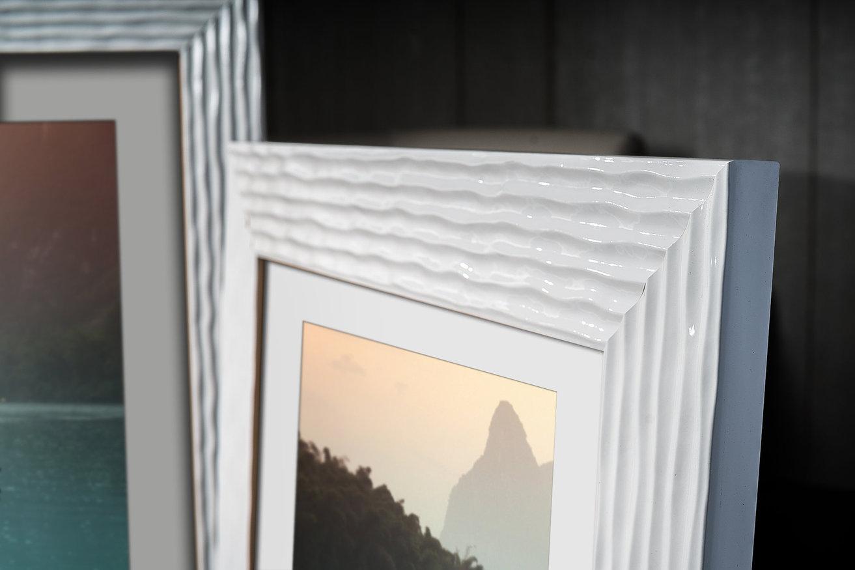 Rama do obrazów i zdjęć biała pokarbowana Lukrecja AB