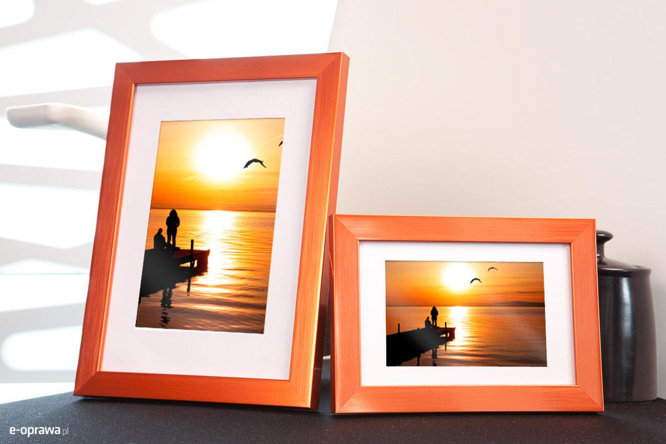 Ramka na zdjęcia i obrazy pomarańczowa w połysku Nicola AA