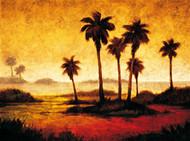 Palmy o zachodzie słońca