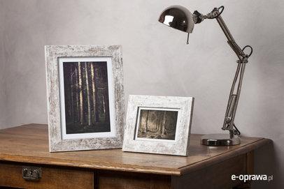 Ramka na zdjęcia i obrazy biała z przetarciem brązowym Lahti AA