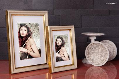 Rama do obrazów i zdjęć perłowo-złota w plamki Roxana AA