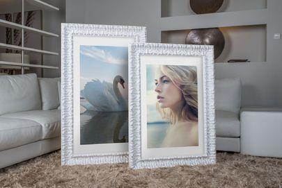 Rama do obrazów i zdjęć biała ornamentowa powycierana Annabel AB