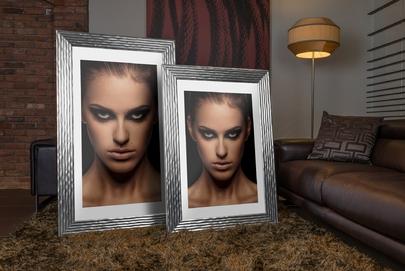 Rama do obrazów i zdjęć srebrna w pofalowane pasy Selena AA