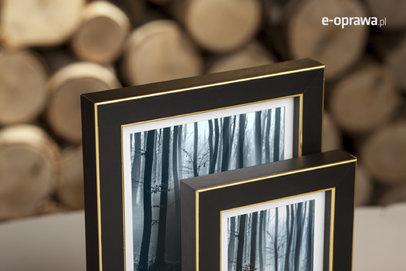 Rama do obrazów i zdjęć zmatowiona ze złotym paskiem Sanga AB
