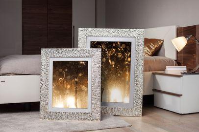 Rama do obrazów i zdjęć biała w złote refleksy Bella AB