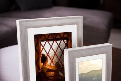 Rama do obrazów i zdjęć biała przetarta srebrem Krym  AC