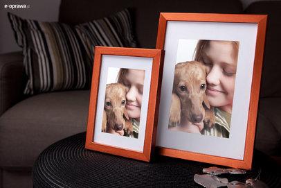 Ramka na zdjęcia i obrazy pomarańczowa satynowa Hit CA
