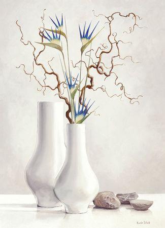 Gałązki wierzby z niebieskimi kwiatami