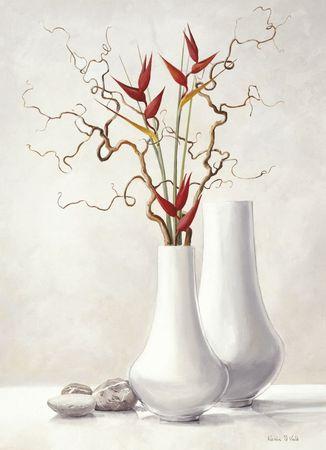 Gałązki wierzby z czerwonymi kwiatami